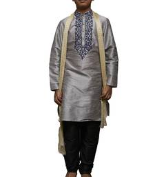 Grey Embroidered Dupion Silk Boys Kurta Pyjama