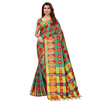 Multicolor woven chanderi silk saree with blouse
