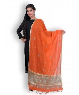 Orange Cotton Net Chikankari & Zardozi Work Dupatta