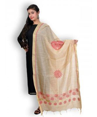 Beige & Red Chikankari Chanderi Cotton Silk Dupatta