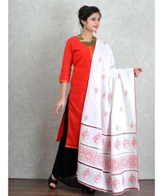 White Cotton Dupatta with Chikankari & Crochet work