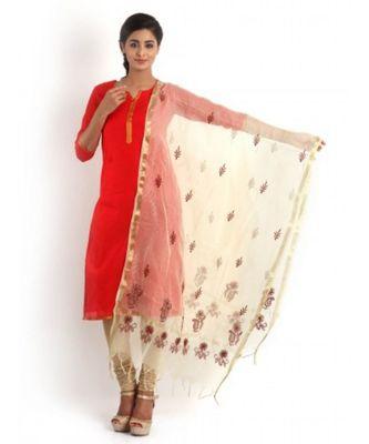 Beige Colour Dupatta with Chikankari & Zari weave