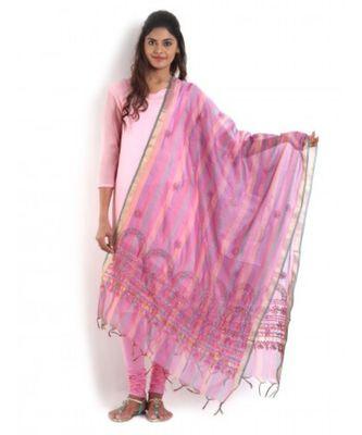 Multicolored Chanderi Dupatta with Chikankari & Kasab work