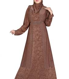 Brown printed polyester abaya