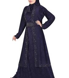 Blue printed polyester abaya