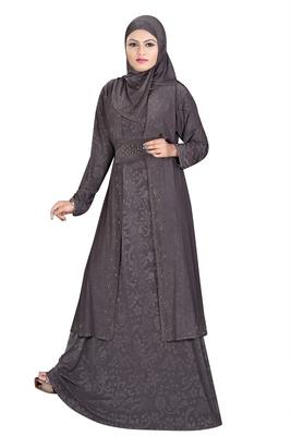 Dark-grey printed polyester abaya
