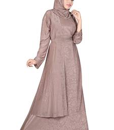 Light-rose printed polyester abaya