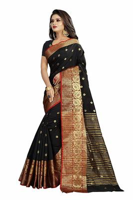 black woven banarasi saree with blouse