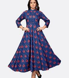 Dark blue printed polyester kurtas and kurtis