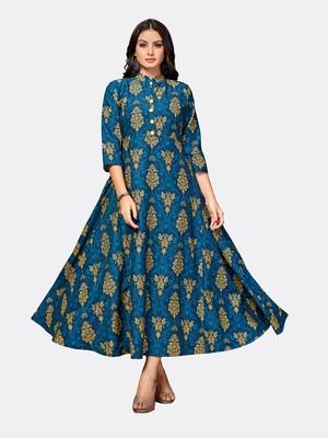 Blue printed polyester kurtas and kurtis