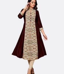 Brown printed polyester kurtas and kurtis