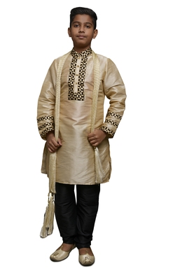 Fawn Embroidered Dupion Silk Boys Kurta Pyjama