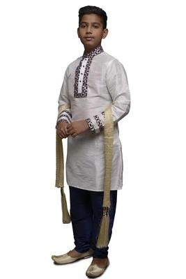 White Embroidered Dupion Silk Boys Kurta Pyjama