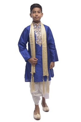 Blue Embroidered Dupion Silk Boys Kurta Pyjama