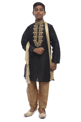 Black Embroidered Dupion Silk Boys Kurta Pyjama