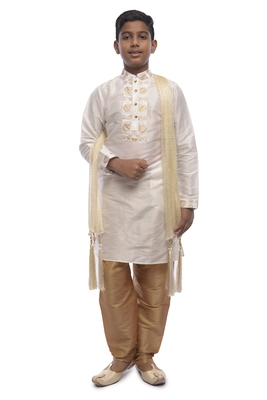 White Embroidered Dupion Silk Boys Kurta Pyjama