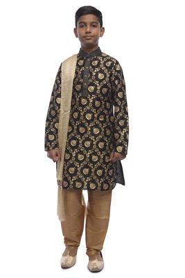 Black Printed Dupion Silk Boys Kurta Pyjama