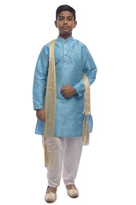 Blue Solid Dupion Silk Boys Kurta Pyjama