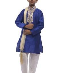 Blue Embroidered Dupion Silk Boys Kurta Pyjama