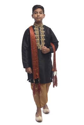 Black Embroidered Dupion Silk Boys Kurta Pyjama