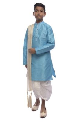 Blue Plain Dupion Silk Boys Kurta Pyjama