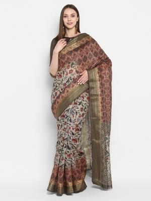 Green printed uppada silk saree with blouse