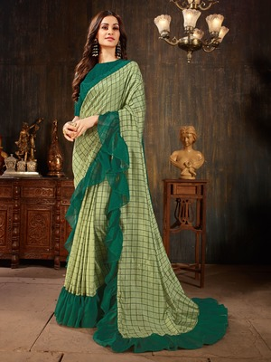 Manohari Light Green Georgette Silk Blend Ruffle Saree with Blouse Piece