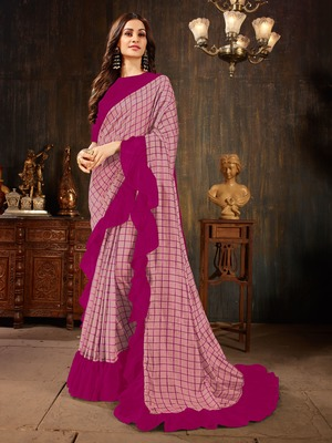 Manohari Pink Georgette Silk Blend Ruffle Saree with Blouse Piece