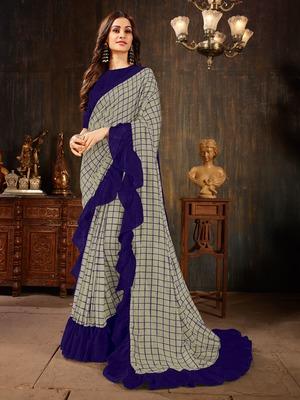 Manohari Grey Georgette Silk Blend Ruffle Saree with Blouse Piece