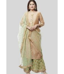 Pistachio Gold Kurti with Kalidaar Palazzo and Sequenced Net Dupatta