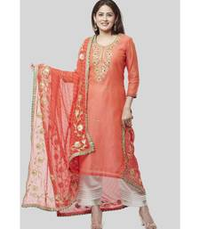 Coral Embroidered Chanderi Kurti with Off-White Gotta Palazzo and Peachy Orange Leheriya Dupatta