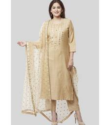 Mellow Gold Embroidered Kurti and Straight Pants with Mellow Sequenced Net Dupatta