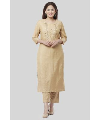 Mellow Gold Embroidered Kurti and Straight Pants