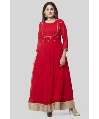 Fiery Red Georgette Floor Length Kurti