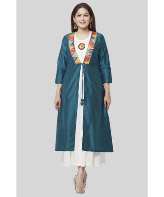 Turquoise Kutch Jacket Dress with Off-White Floor Length