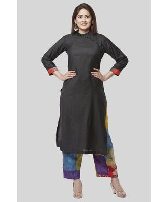 Black Side Straight Kurti with Kantha Embroidered Straight Palazzo
