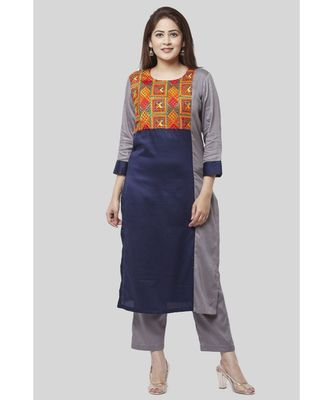 Gray Blue Phulkari Bagh Straight Kurti with Straight Pants