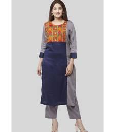 Gray Blue Phulkari Bagh Straight Kurti with Straight Pants