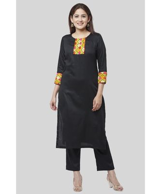 Black Phulkari Straight Kurti with Straight Pants