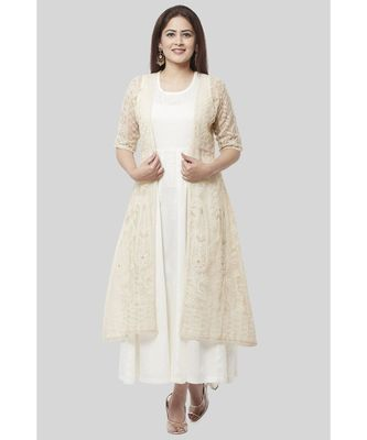 Haze Gold Chanderi Embroidered Jacket Dress with Off-White Floor Length Dress