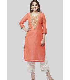 Coral Embroidered Chanderi Kurti with Off-White Gotta Palazzo