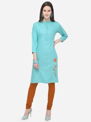 Sky Blue Rayon Stitched Women's Kurti