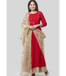Fiery Red Georgette Floorlength with Gold Floral Sequenced Organza Dupatta