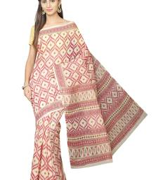Maroon printed blended cotton saree with blouse
