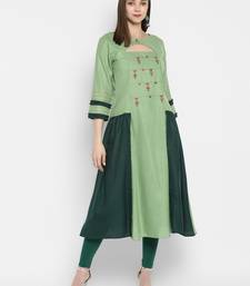 Light green embroidered cotton silk embroidered kurtis