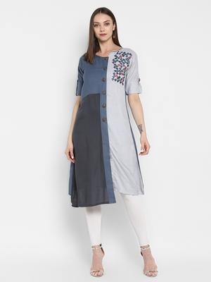 Grey embroidered rayon embroidered kurtis