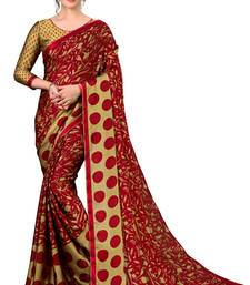 Multicolor printed chiffon saree with blouse