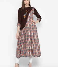 Brown embroidered polyester embroidered-kurtis