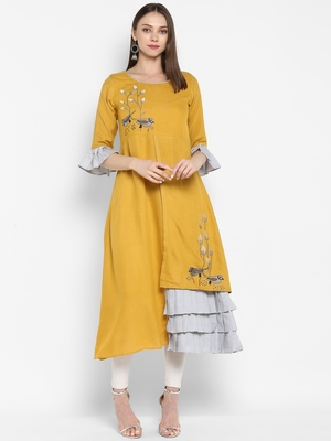 Mustard embroidered rayon embroidered-kurtis