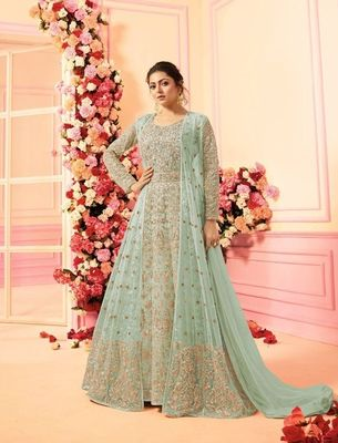 Green embroidered net salwar